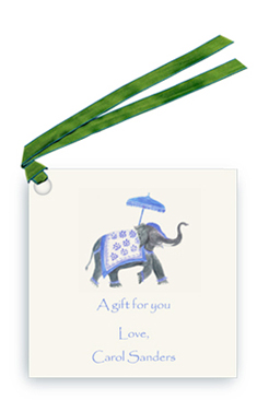 Festive Elephant -Blue/White
