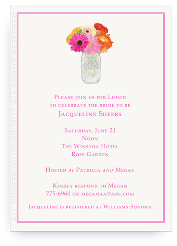 Silver Vase of Gerber Daisies invite