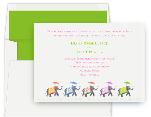 elephant parade wedding invite