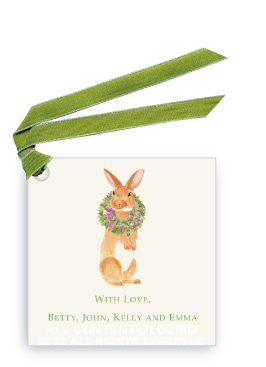 Brown Rabbit with Peony Wreath