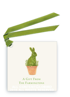 rabbit topiary gift tag